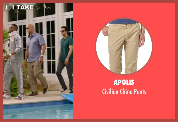 Apolis beige pants from Ballers seen with Spencer Strasmore (Dwayne Johnson)