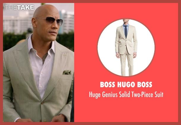 Boss Hugo Boss beige suit from Ballers seen with Spencer Strasmore (Dwayne Johnson)