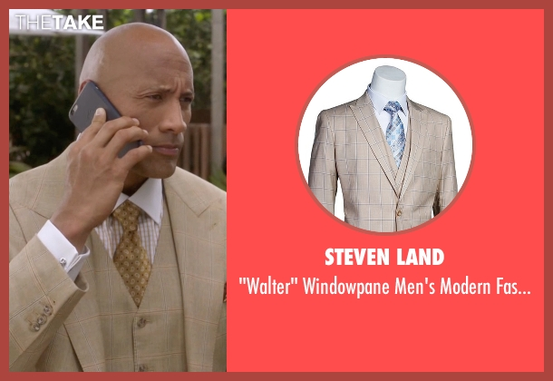 Steven Land beige suit from Ballers seen with Spencer Strasmore (Dwayne Johnson)