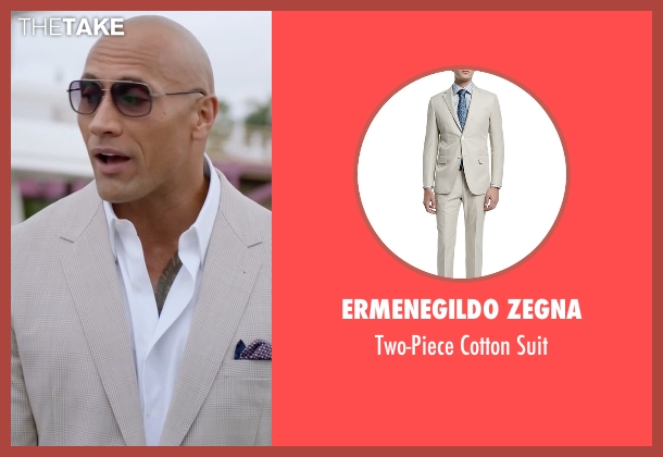 Ermenegildo Zegna beige suit from Ballers seen with Spencer Strasmore (Dwayne Johnson)