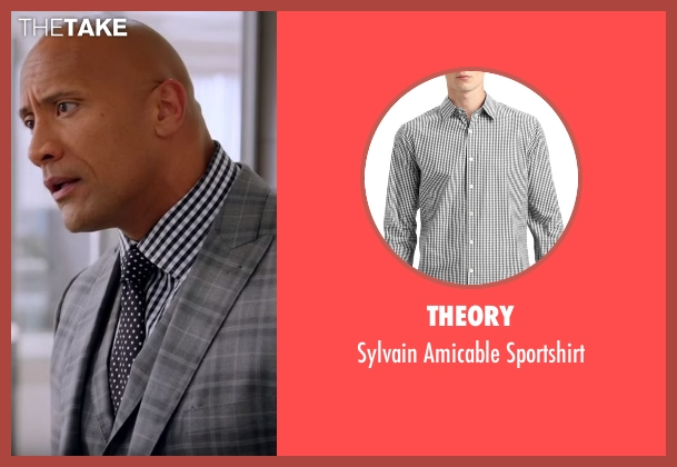 Theory  black sportshirt from Ballers seen with Spencer Strasmore (Dwayne Johnson)