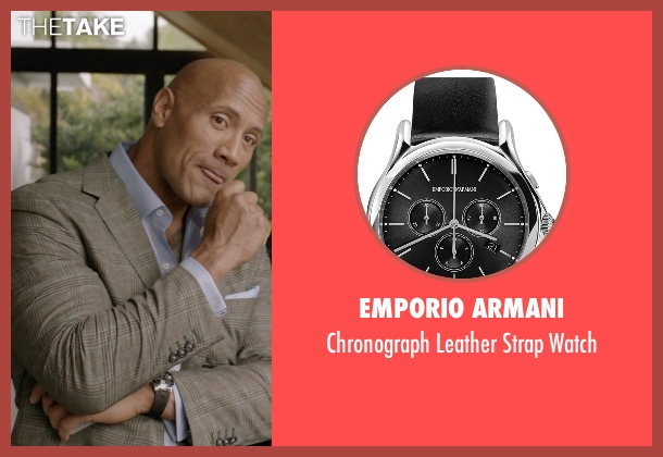Emporio Armani black watch from Ballers seen with Spencer Strasmore (Dwayne Johnson)