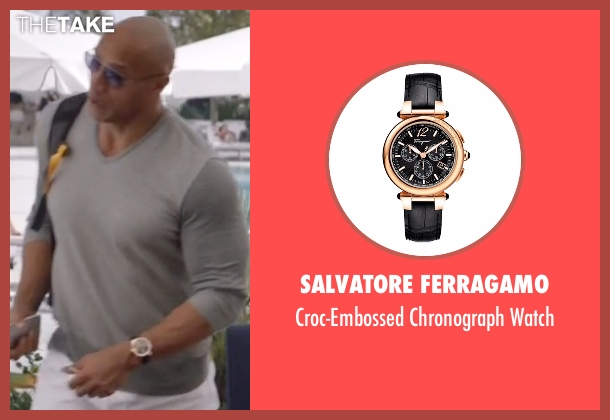 Salvatore Ferragamo black watch from Ballers seen with Spencer Strasmore (Dwayne Johnson)