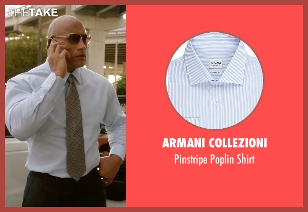 Armani Collezioni blue shirt from Ballers seen with Spencer Strasmore (Dwayne Johnson)
