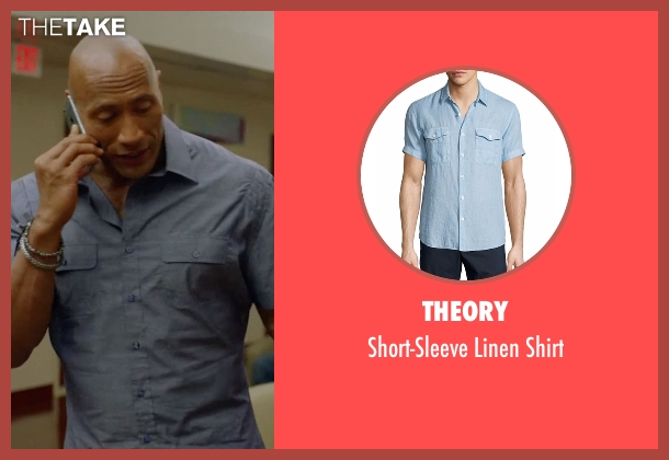 Theory blue shirt from Ballers seen with Spencer Strasmore (Dwayne Johnson)