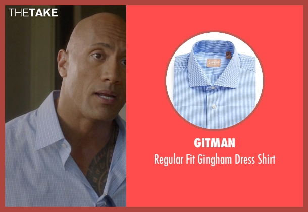 Gitman blue shirt from Ballers seen with Spencer Strasmore (Dwayne Johnson)