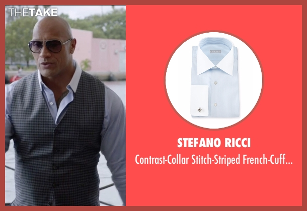 Stefano Ricci blue shirt from Ballers seen with Spencer Strasmore (Dwayne Johnson)