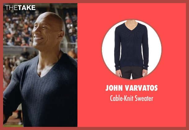 John Varvatos blue sweater from Ballers seen with Spencer Strasmore (Dwayne Johnson)