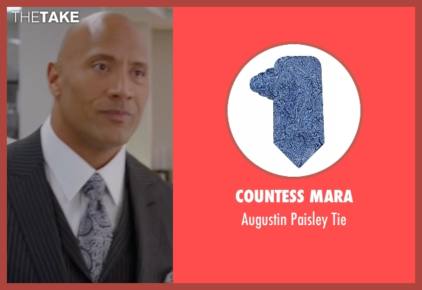 Countess Mara blue tie from Ballers seen with Spencer Strasmore (Dwayne Johnson)