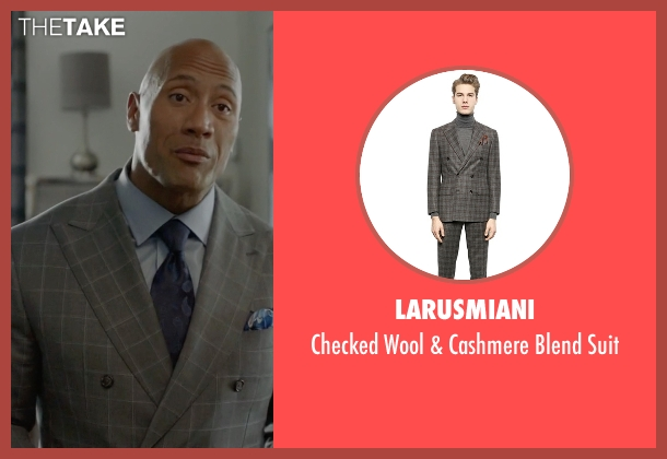 Larusmiani gray suit from Ballers seen with Spencer Strasmore (Dwayne Johnson)