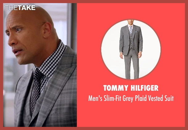 Tommy Hilfiger gray suit from Ballers seen with Spencer Strasmore (Dwayne Johnson)
