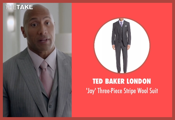 Ted Baker London gray suit from Ballers seen with Spencer Strasmore (Dwayne Johnson)