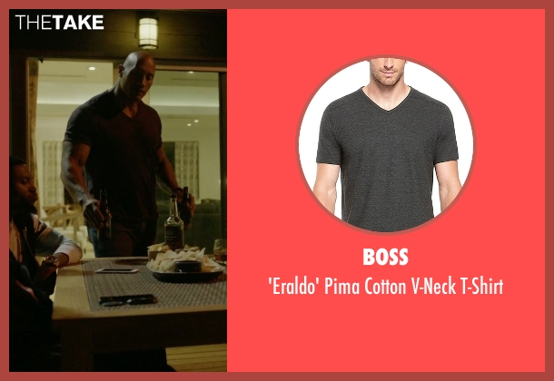 Boss gray t-shirt from Ballers seen with Spencer Strasmore (Dwayne Johnson)