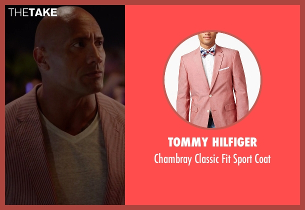 Tommy Hilfiger pink coat from Ballers seen with Spencer Strasmore (Dwayne Johnson)