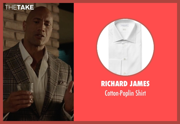 Richard James white shirt from Ballers seen with Spencer Strasmore (Dwayne Johnson)