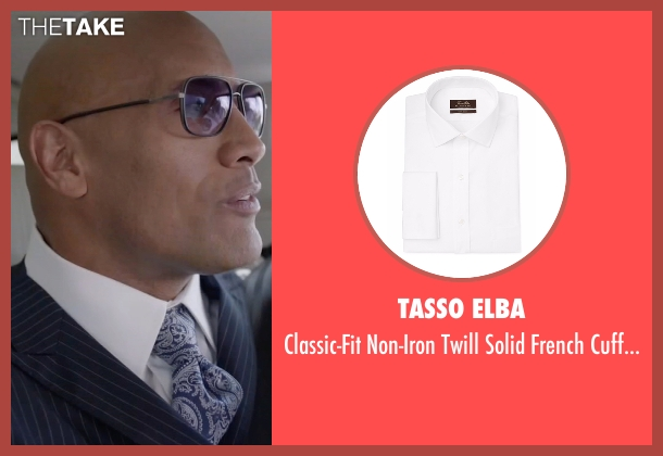 Tasso Elba white shirt from Ballers seen with Spencer Strasmore (Dwayne Johnson)