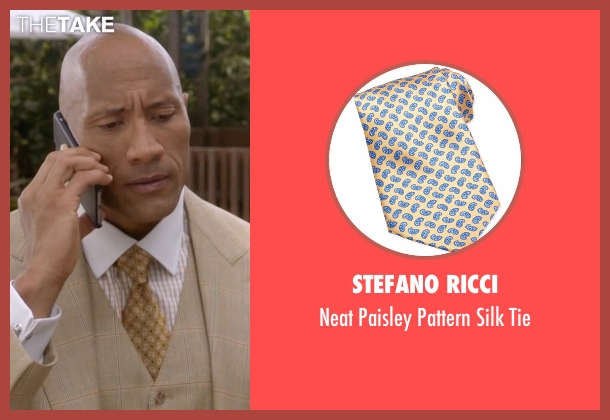 Stefano Ricci yellow tie from Ballers seen with Spencer Strasmore (Dwayne Johnson)