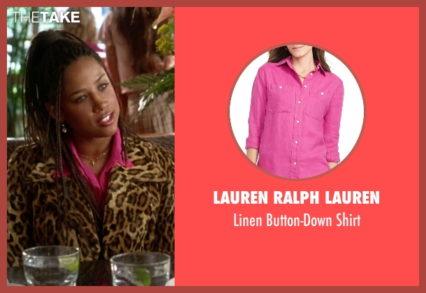 Lauren Ralph Lauren pink shirt from Clueless seen with Stacey Dash (Dionne)