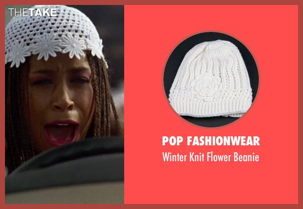 Pop Fashionwear white beanie from Clueless seen with Stacey Dash (Dionne)