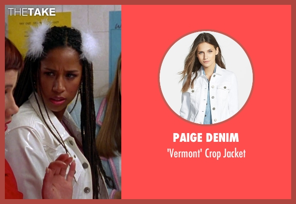 Paige Denim white jacket from Clueless seen with Stacey Dash (Dionne)