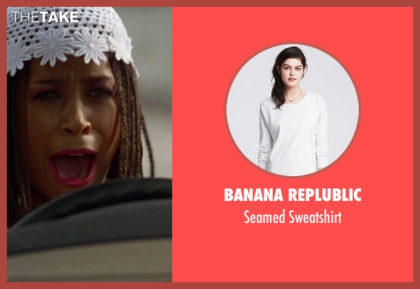 Banana Replublic white sweatshirt from Clueless seen with Stacey Dash (Dionne)