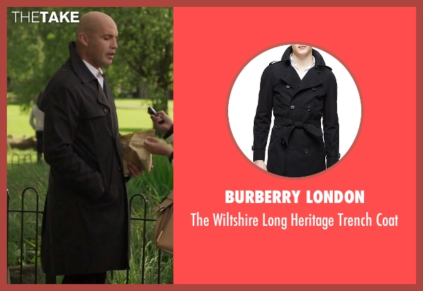 Burberry London black coat from Guilt seen with Stan Gutterie (Billy Zane)