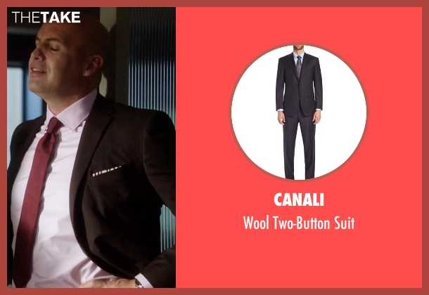 Canali black suit from Guilt seen with Stan Gutterie (Billy Zane)