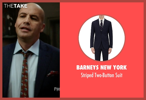 Barneys New York blue suit from Guilt seen with Stan Gutterie (Billy Zane)