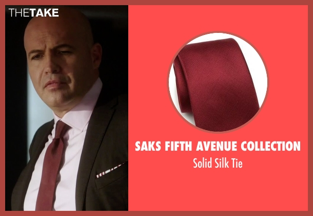 Saks Fifth Avenue Collection red tie from Guilt seen with Stan Gutterie (Billy Zane)