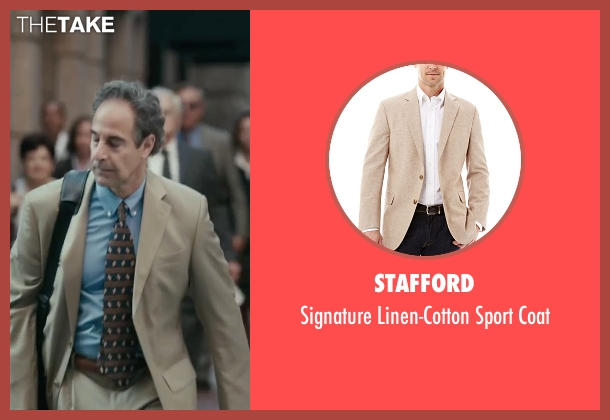 Stafford beige coat from Spotlight seen with Stanley Tucci (Mitchell Garabedian)