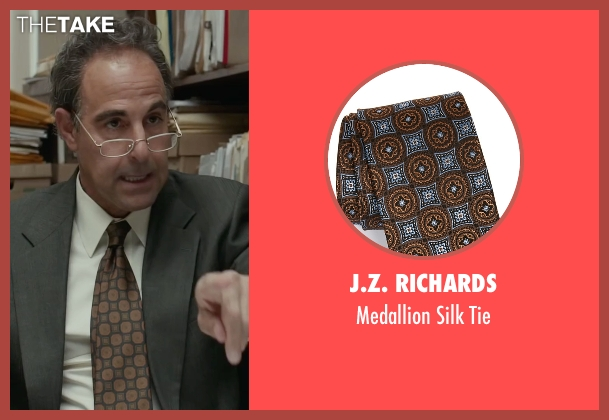 J.Z. Richards brown tie from Spotlight seen with Stanley Tucci (Mitchell Garabedian)