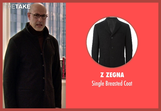 Z Zegna black coat from The Devil Wears Prada seen with Stanley Tucci (Nigel)