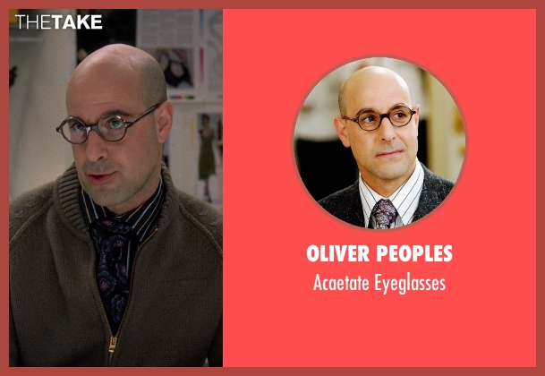 Oliver Peoples black eyeglasses from The Devil Wears Prada seen with Stanley Tucci (Nigel)