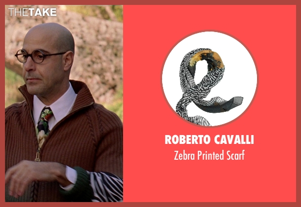 Roberto Cavalli black scarf from The Devil Wears Prada seen with Stanley Tucci (Nigel)