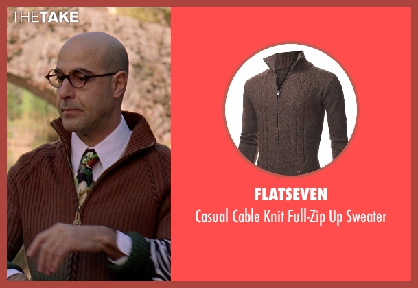 Flatseven brown sweater from The Devil Wears Prada seen with Stanley Tucci (Nigel)