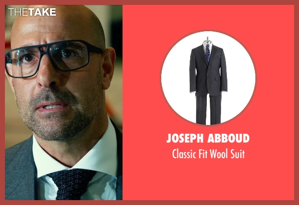 JOSEPH ABBOUD gray suit from Transformers: Age of Extinction seen with Stanley Tucci (Joshua)