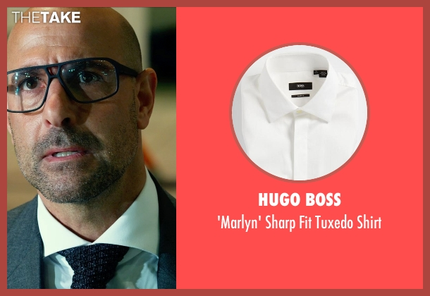 HUGO BOSS white shirt from Transformers: Age of Extinction seen with Stanley Tucci (Joshua)