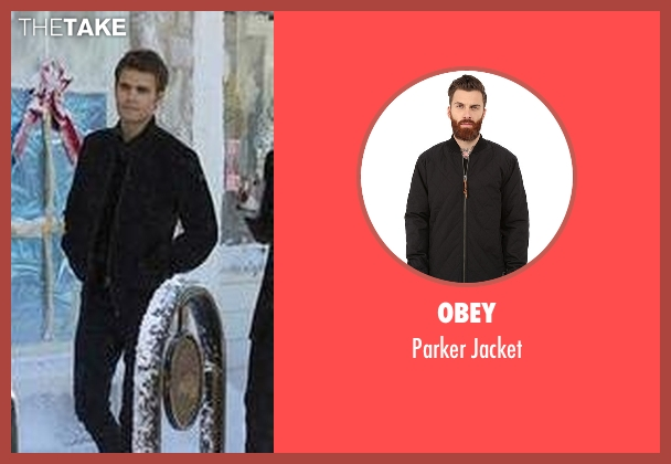 Obey black jacket from The Vampire Diaries seen with Stefan Salvatore (Paul Wesley)