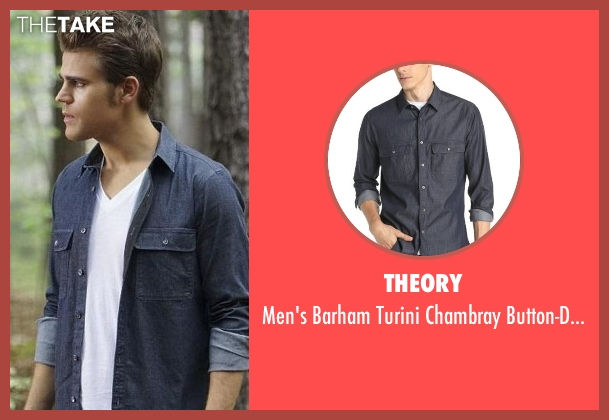 Theory blue shirt from The Vampire Diaries seen with Stefan Salvatore (Paul Wesley)