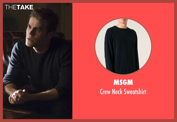 MSGM blue sweatshirt from The Vampire Diaries seen with Stefan Salvatore (Paul Wesley)