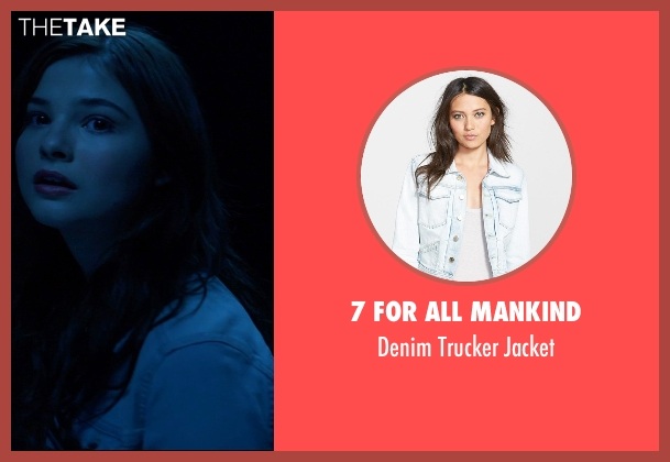 7 For All Mankind blue jacket from Insidious: Chapter 3 seen with Stefanie Scott (Quinn Brenner)