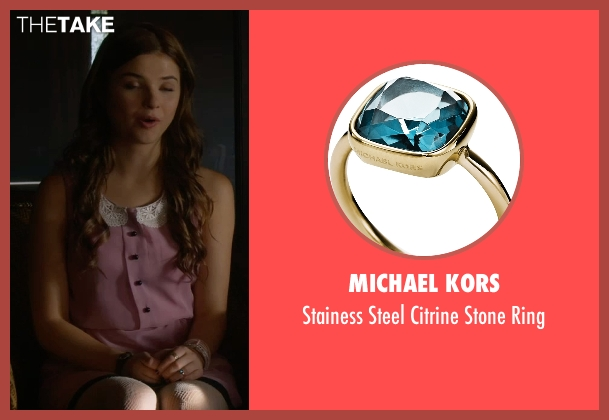 Michael Kors blue ring from Insidious: Chapter 3 seen with Stefanie Scott (Quinn Brenner)