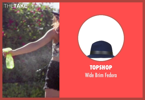 Topshop blue fedora from Jem and the Holograms seen with Stefanie Scott (Kimber)