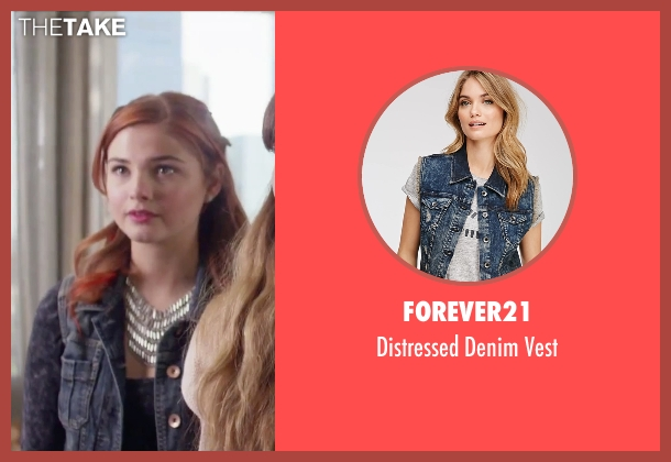 Forever21 blue vest from Jem and the Holograms seen with Stefanie Scott (Kimber)