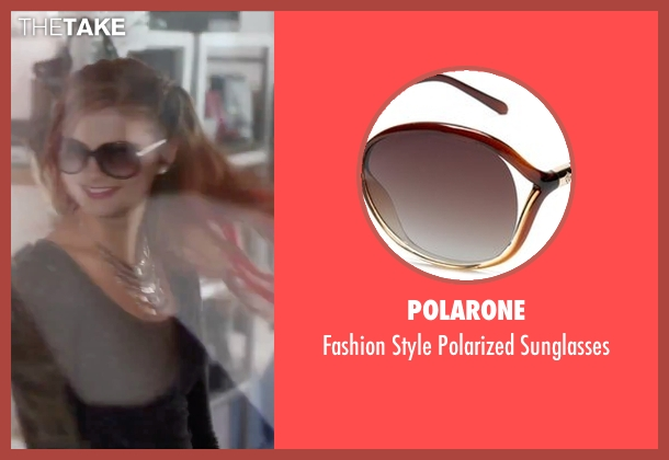 Polarone brown sunglasses from Jem and the Holograms seen with Stefanie Scott (Kimber)