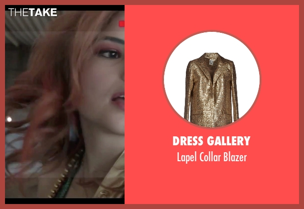 Dress Gallery gold blazer from Jem and the Holograms seen with Stefanie Scott (Kimber)