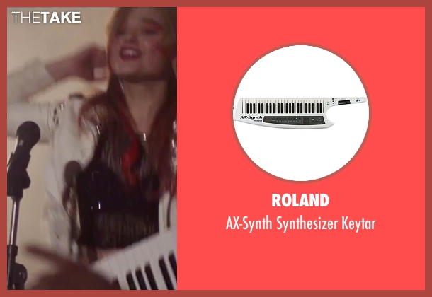 Roland keytar from Jem and the Holograms seen with Stefanie Scott (Kimber)