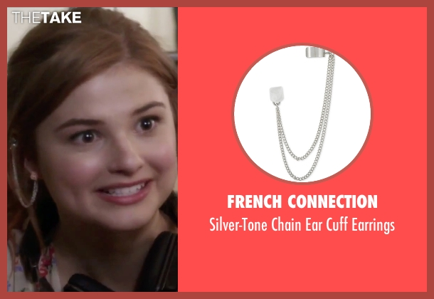 French Connection silver earrings from Jem and the Holograms seen with Stefanie Scott (Kimber)