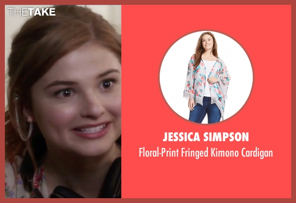 Jessica Simpson white cardigan from Jem and the Holograms seen with Stefanie Scott (Kimber)