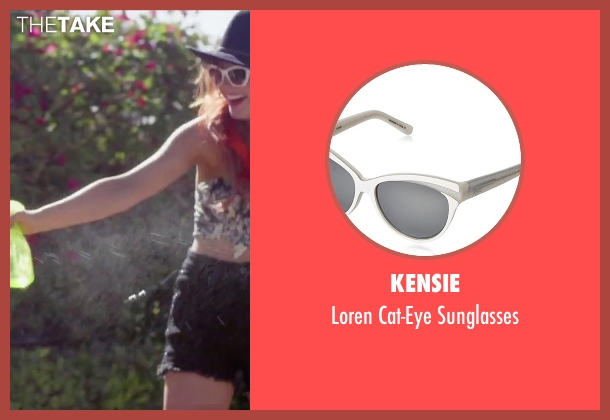Kensie white sunglasses from Jem and the Holograms seen with Stefanie Scott (Kimber)